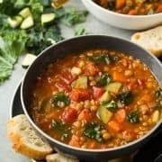 Here's a healthy, hearty vegetarian soup that's so delicious no one will even miss the meat! This Moroccan Sweet Potato Lentil Soup is packed with nutritio