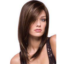"14"" Human Hair Full Lace Wig Straight Medium Brown"