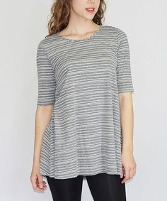 Look at this Bleu Summer Gray Stripe Sammy Tunic - Women on #zulily today!