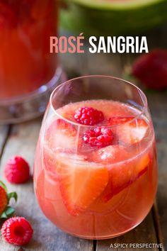 Blushing Rose Sangria Recipe on ASpicyPerspective.com #sangria #cocktails #mothersday
