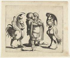 Anonymous   Groteske: minnend paar met twee grotesken, Anonymous, Arent van Bolten   Een man en vrouw omhelzen elkaar, staand in het midden. Links en rechts een groteske figuur: deels vogel, deels hoefdier. (uit serie van 12)