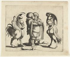 Anonymous | Groteske: minnend paar met twee grotesken, Anonymous, Arent van Bolten | Een man en vrouw omhelzen elkaar, staand in het midden. Links en rechts een groteske figuur: deels vogel, deels hoefdier. (uit serie van 12)