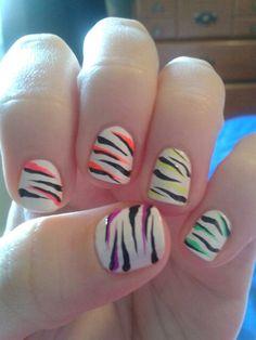 Chantelle's Own Creation: Neon Zebra Nails