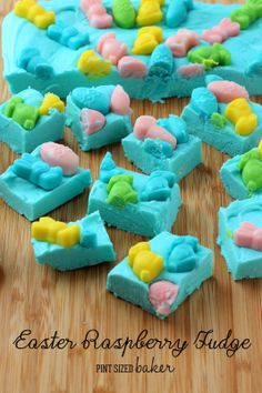 Frosting Fudge. . .Raspberry Easter Fudge. . I think I would top it with sweet tart gummies!