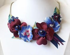 Navy Blue & Plum Statement Necklace, Fabric Flower Bib Necklace with Plum Poppies, Blue Pansies, Wine and Navy Blue Wedding Jewellery