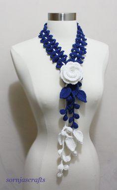 SaleLovely Crochet MultiColor Blue White Necklace by SornjasCrafts