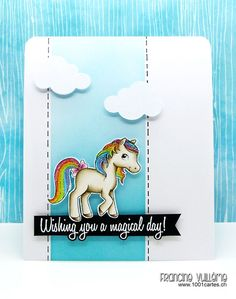 Card by Francine (www.1001cartes.ch) karte, carte, carterie, cardmaking, cardmaker, crafts, papercrafts, handmade, diy, stamping, #1001cartes, your next stamp, pony, yns, magical ponies, rainbow