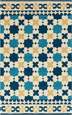 modernrugs.com Moroccan Turquoise Navy Yellow Bohemian Modern Rug.  This would be perfect in our Family/TV room! But, would the dogs ruin it?