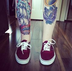 Traditional leg tattoos and vans