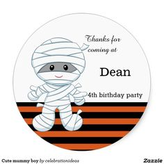 Sold. Cute #mummy #halloween #trickortreat #stickers#kids Available too in different #homedecor products. Check more at www.zazzle.com/celebrationideas