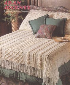 Aran Afghan Crochet Pattern - Fringed Coverlet with Matching Pillow Shams Pattern