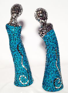 Mexican Glass Mosaic -- Turquoise figurines