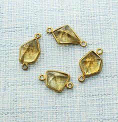 Zj6146 Season Sale! Peach Quartz 24k Gold Plated Handmade Connector Jewelry 4Pcs #Handmade #Connector