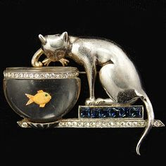'Anthony Aquilino' Anthony Sterling Cat on Invisibly Set Sapphires Plinth Fishing in Jelly Belly Fish Bowl Pin, 1946-47. S)