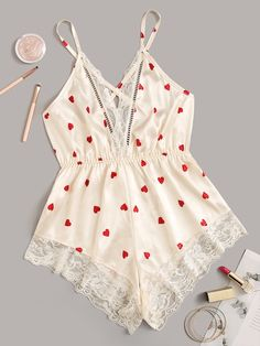 To find out about the Heart Print Lace Trim Satin Romper at SHEIN, part of our latest Sexy Lingerie ready to shop online today! Cute Sleepwear, Lingerie Sleepwear, Nightwear, Lingerie Outfits, Sexy Lingerie, Bridesmaid Pyjamas, Night Outfits, Cute Outfits, Hipster Outfits