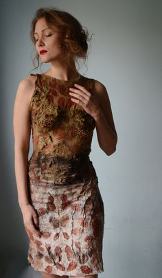 Wow--so gorgeous. Eco fashion dress from natural silk and wool dyed with plants OOAK via Vilte on Etsy.