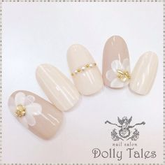 Perfect for wedding 3d Nail Art, Nail Arts, Bridal Nails, Wedding Nails, Gorgeous Nails, Pretty Nails, Japanese Nail Art, Chic Nails, Manicure E Pedicure