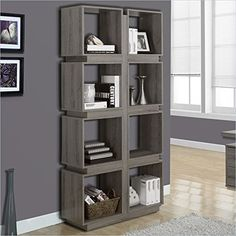 Monarch Specialties Dark Taupe Reclaimed-Look Bookcase, 71-Inch