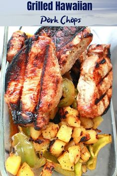Grilled Hawaiian Pork Chops These are a delicious pineapple topped pork chops that has and delicious style sweet flavor to them Pork Rib Recipes, Grilling Recipes, Grilling Ideas, Healthy Grilling, Cuban Recipes, Hawaiian Pork Chops, Traditional Hawaiian Food, Pork Chop Dishes, Thin Pork Chops