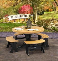 """LuxCraft 4' Round Poly Dining Set with Four 28"""" Table Benches Patio, porch or poolside? Where will your easy to maintain ultra durable outdoor furniture go? Choose from a variety of colors. Made with recycled plastic for a healthier planet."""