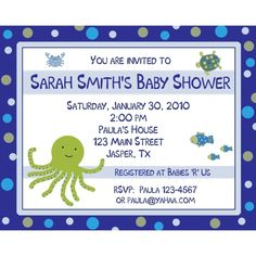 Under The Sea Baby Shower Invitation Green Octopus Sea Themed Baby Shower Invitation.