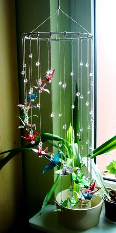 "Handmade Mobile with Origami Cranes ""Colourful Streamer"" Great Present in Home, Furniture & DIY, Home Decor, Windchimes & Mobiles 
