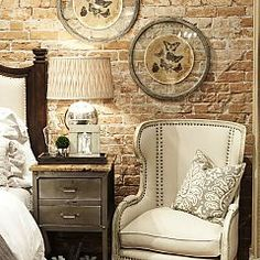 """I want an """"abandoned warehouse"""" brick wall in my bedroom (and the chair)"""