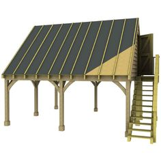 Double Carport Room in Roof Kit 45 Gable Traditional Style Green Oak Douglas Fir Glulam
