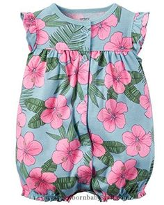 Baby Girl Clothes Carter's Baby Girls 1-piece Appliqué Snap-Up Cotton Romper (12 Months, Blue/Pink Floral)