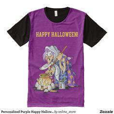 Personalized Purple Happy Halloween Men's T-Shirt