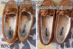 How to clean the inside of your Minnetonkas or Uggs. Because you know how gross they are.