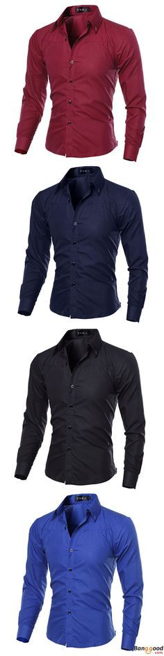 US$13.60 + Free shipping. Mens shirts, slim fit shirts, pure color shirts, long-sleeved shirts. US Size: S, M, L, XL, 2XL, 3XL.Material: cotton blended, 85% cotton. Color: Black, White, Wine Red, Navy Blue, Royal Blue.