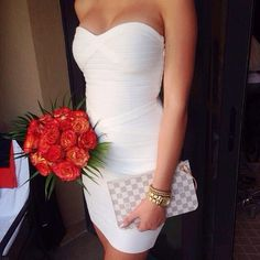 So stealing this look for the wedding reception I am attending this month. Simple yet sexy! Sexy Dresses, Cute Dresses, Beautiful Dresses, Prom Dresses, Future Mrs, Casual Outfits, Cute Outfits, Party Outfits, Little White Dresses