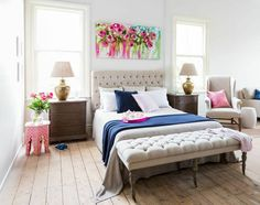 Amanda Brooks Painting over a linen headboard for the master bedroom