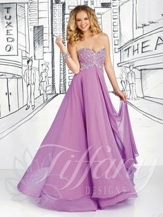 Prom Dress by Tiffany Designs 16032. The fabric in this style is Silky Chiffon. Shown in Orchid (purple)and also available in Key Lime (gree...