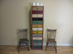 Vintage Dresser Chest of Drawers Reclaimed Wood Dresser Upcycled Furniture Industrial Decor. $975.00, via Etsy.