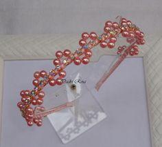 Tiara de Perolas Luxo Rosa