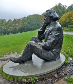 Gustav Ernesaks (1908-1993), composer and choir conductor, one of the father figures of the Estonian Song Festival tradition, sitting here on Tallinn Song Festival Grounds.