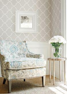 Carolyn Trellis Wallpaper from Thibaut - T64153 - Flax