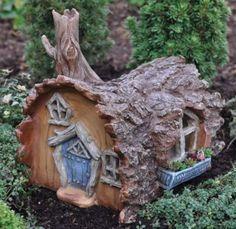 What  cute garden thing - a fairy village !!!!! Amazon.com: Fairy Gardening Log House Fairy Home: Home & Kitchen