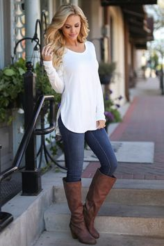 Heart Is In Montana Top - Ivory