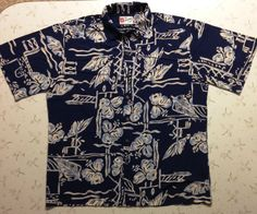 Hilo Hattie Hawaiian Shirt Size Mens Large 100% Rayon Short Sleeve BlueWhite