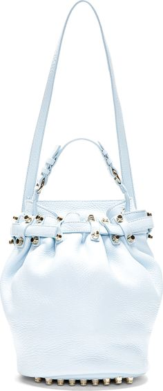 Alexander Wang: Baby Blue Leather & Gold Studded Diego Bucket Bag