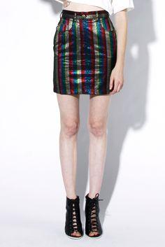 Shop Vintage 90s Moschino Jeans Metallic Striped Skirt   Thrifted & Modern #moschino #vintagemoschino #metallic #thriftedandmodern #90s