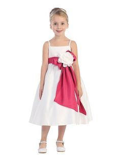 White Pick Your Sash Classic Satin Flower Girl Dress (Sizes 2-12 in 2 Colors)