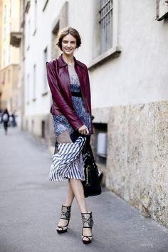 model off duty street style - milan - oxblood leather biker jacket + print mix midi dress