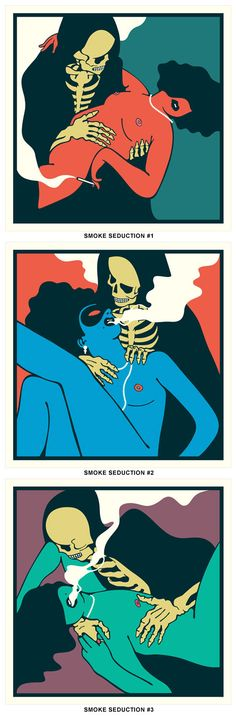 Smoke Seduction - Paper collage and screen prints by Eelus