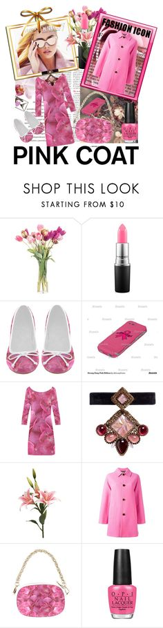"""""""Hey Girl: Pretty Pink Coat"""" by deluxephotos ❤ liked on Polyvore featuring NDI, WALL, MAC Cosmetics, Erickson Beamon, Just Cavalli, OPI and pinkcoats"""