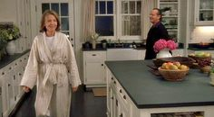 """The Beach House in """"Something's Gotta Give"""".   Love this movie and this Hamptons beach house kitchen. The counters were painted to look like soapstone for the movie, but it started a huge trend. """"Suddenly everyone wanted soapstone!"""""""