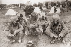 Indian soldiers serving with the British Army, at camp during World War I, circa 1916.